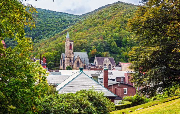 Jim Thorpe, PA - Historic buildings and green hills